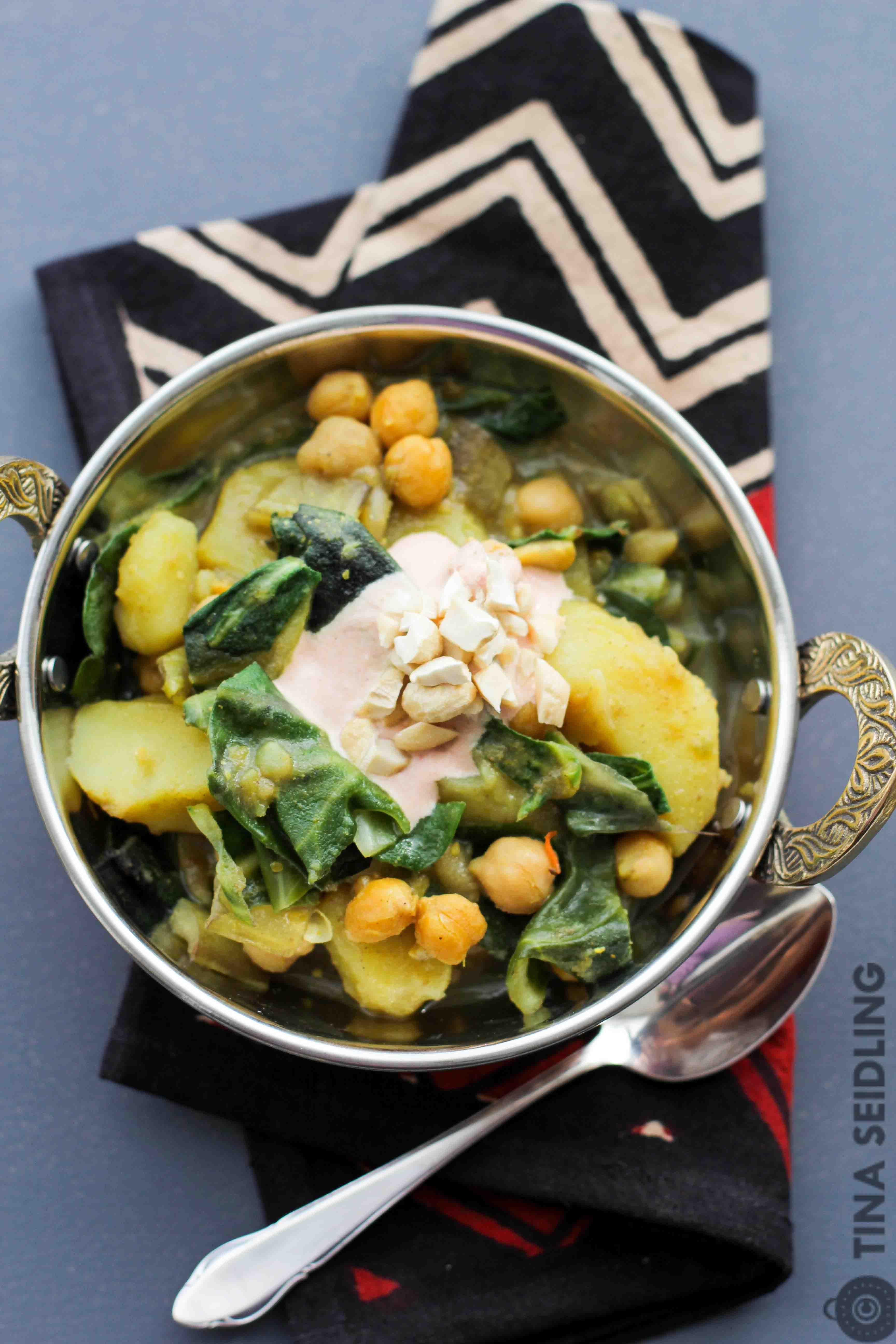Mangold Kichererbsen Curry mit Kartofeln