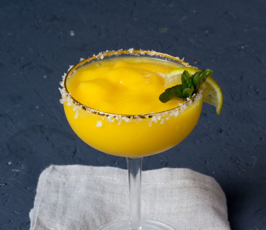 Frozen Mango Margarita via lunchforone