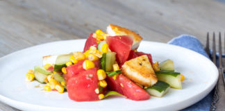 Wassermelonen Mais Salat via lunchforone