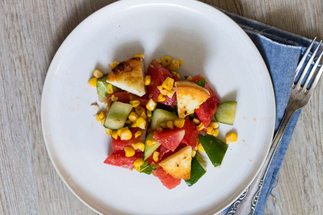 Wassermelonen Mais Salat via lunchforone